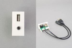45ハーフモジュール(コンセント:USB Aメス+3.5㎜ステレオミニメス/内側配線:USB Aメス+3.5㎜ステレオミニメス端子ケーブル)