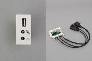 45ハーフモジュール(コンセント:USB Aメス+3.5㎜ステレオミニメス×2個/内側端子:USB Aメス+3.5㎜ステレオミニメス×2 端子ケーブル)