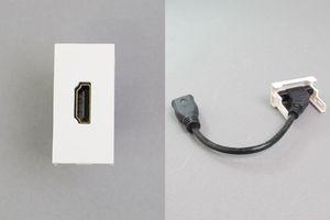 45ハーフモジュール(コンセント:HDMIメス/内側配線:HDMIメス端子ケーブル)