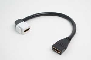 スナップイン中継ケーブル、HDMI-Aメス-HDMI-Aメス :90°アングル方向ケーブル引き出しタイプ