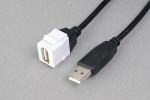 スナップイン中継ケーブル、USB2.0(Aコネクタ)メス-USB2.0(Aコネクタ)オス:ストレート方向ケーブル引き出しタイプ