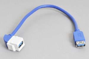 スナップイン中継ケーブル、USB3.0(Aコネクタ)メス-USB3.0(Aコネクタ)メス :90°アングル方向ケーブル引き出しタイプ 【USB3.0対応、ストレート結線】