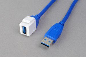 スナップイン中継ケーブル、USB3.0(Aコネクタ)メス-USB3.0(Aコネクタ)オス:ストレート方向ケーブル引き出しタイプ 【ケーブル長さ1mと2m】   【USB3.0対応、ストレート結線】