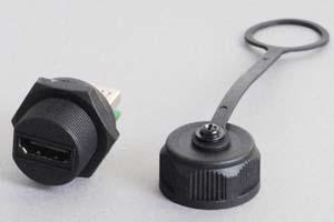 HDMI中継アダプタ 【防塵・防水パネルマウント、IP66対応】 両側HDMI-Aメスコネクタ 筒型 先端キャップ付き