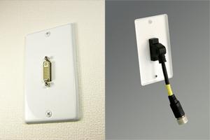 白塗装ステンレスプレート付きAVコンセント(DVI-D(シングルリンク)用、壁面埋込配線タイプ、接続ケーブル付き)【在庫限り販売中止】