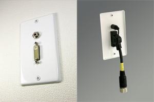白塗装ステンレスプレート付きAVコンセント(DVI-D(シングルリンク)+音声用、壁面埋込型配線タイプ、接続ケーブル付き)【在庫限り販売中止】
