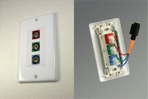 白塗装ステンレスプレート付きAVコンセント(BNC端子×3(赤・青・緑)、壁面埋込配線タイプ、接続ケーブル付き)【在庫限り販売中止】