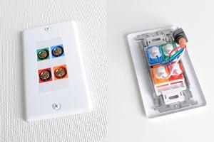 白塗装ステンレスプレート付きAVコンセント(BNC端子×4(赤・緑・青・オレンジ)、壁面埋込配線タイプ、接続ケーブル付き)【在庫限り販売中止】