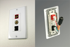 白塗装ステンレスプレート付きAVコンセント(S端子+音声用、壁面埋込配線タイプ、接続ケーブル付き)【在庫限り販売中止】