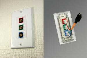 白塗装ステンレスプレート付きAVコンセント(コンポーネント映像用、壁面埋込配線タイプ、接続ケーブル付き)【在庫限り販売中止】