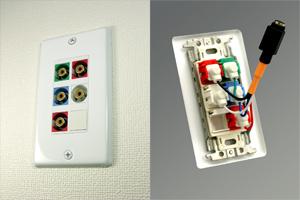 白塗装ステンレスプレート付きAVコンセント(コンポーネント映像+音声用、壁面埋込配線タイプ、接続ケーブル付き)【在庫限り販売中止】
