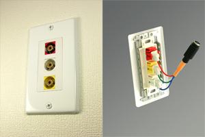 白塗装ステンレスプレート付きAVコンセント(コンポジット映像+音声用、壁面埋込配線タイプ、接続ケーブル付き)【在庫限り販売中止】