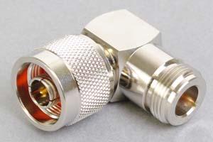 同軸コネクタ用中継アダプタ  N型メス-N型オス(Lアングル形状、インピーダンス50Ω)