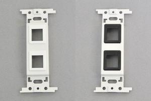 取付枠一体型 コンセントモジュール  【ブランク板】 スナップインコネクタ取付穴 2口