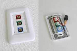 樹脂製プレート付きAVコンセント(BNC端子×3、壁面埋込配線タイプ、接続ケーブル付き) 【在庫限り販売中止】