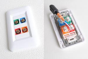 樹脂プレート付きAVコンセント(BNC端子×4、壁面埋込配線タイプ、接続ケーブル付き)【在庫限り販売中止】