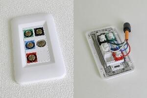 樹脂製プレート付きAVコンセント(BNC端子×5、壁面埋込配線タイプ、接続ケーブル付き)【在庫限り販売中止】