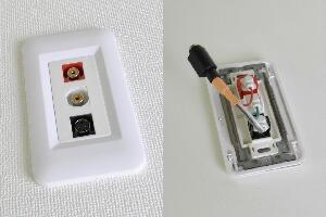 樹脂製プレート付きAVコンセント(S端子+音声用、壁面埋込配線タイプ、接続ケーブル付き)【在庫限り販売中止】