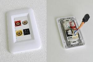 樹脂製プレート付きAVコンセント(S端子+コンポジット映像+音声用、壁面埋込配線タイプ、接続ケーブル付き)【在庫限り販売中止】