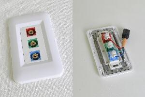 樹脂製プレート付きAVコンセント(コンポーネント映像用、壁面埋込配線タイプ、接続ケーブル付き) 【在庫限り販売中止】