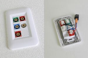 樹脂製プレート付きAVコンセント(コンポーネント映像+音声用、壁面埋込配線タイプ、接続ケーブル付き)【在庫限り販売中止】