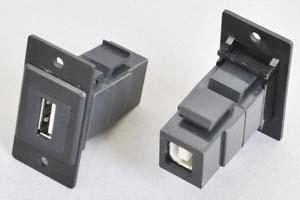 パネルマウントベゼルセット USB2.0タイプ中継コネクタ(壁内Bメス-壁面Aメス) 黒色