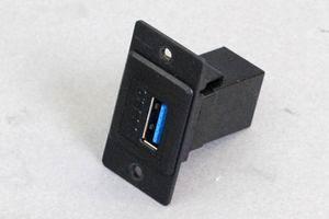 パネルマウントベゼルセット USB3.0タイプ中継コネクタ(両側Aメス) 黒色 【USB3.0対応】ストレート結線