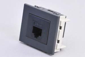 パネルマウントコンセントチップ(機器組込プレートセット品) CAT6 LAN(RJ-45)中継コネクタ 黒