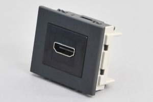 パネルマウントコンセントチップ(機器組込プレートセット品) HDMI中継コネクタ 黒
