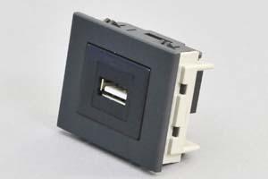 パネルマウントコンセントチップ(機器組込プレートセット品) USB2.0-A中継コネクタ 黒