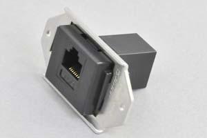 パネルマウントコンセントチップ(小型取付枠セット品) CAT6 LAN(RJ-45)中継コネクタ 黒