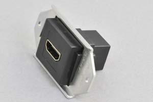 パネルマウントコンセントチップ(小型取付枠セット品) HDMI中継コネクタ 黒