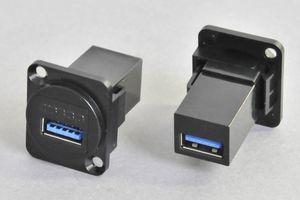 パネルマウント USB3.0 Aタイプ中継メス-メス 黒 【USB3.0対応】ストレート結線タイプ  【ノイトリック型ベゼルセット品】