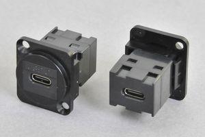 パネルマウント USB Type-C (USB3.1)中継メス-メス 黒 【USB3.1対応】  【ノイトリック型ベゼルセット品】
