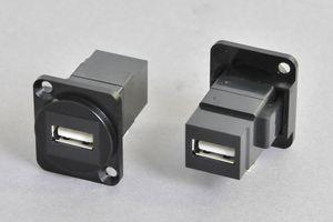 パネルマウント USB2.0 Aタイプ中継メス-メス 黒  【ノイトリック型ベゼルセット品】