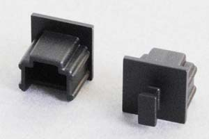 防塵キャップ RJ11ソケット端子用 ツマミ付き 黒