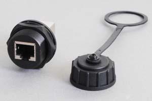 LAN(CAT5E)中継アダプタ 【防塵・防水パネルマウント、IP66対応】 シールド(STP)タイプ 筒型 先端キャップ付き