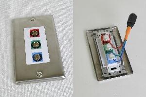 無塗装ステンレスプレート付きAVコンセント(BNC端子×3、壁面埋込配線タイプ、接続ケーブル付き)【在庫限り販売中止】