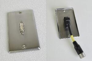 無塗装ステンレプレート付きAVコンセント(DVI-D用、壁面埋込配線タイプ、接続ケーブル付き)【在庫限り販売中止】