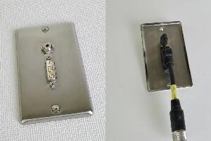 無塗装ステンレスプレート付きAVコンセント(DVI-D+音声用、壁面埋込配線タイプ、接続ケーブル付き)【在庫限り販売中止】