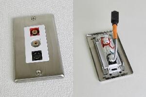 無塗装ステンレスプレート付きAVコンセント(S端子+音声用、壁面埋込配線タイプ、接続ケーブル付き)【在庫限り販売中止】