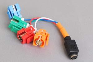 スナップイン中継ケーブル、BNCメス×4(赤青緑オレンジ)-ミニDIN8+1pinメス 【在庫限り販売中止】