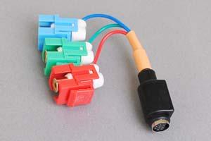 スナップイン中継ケーブル、RCAメス赤青緑(コンポーネント映像)-ミニDIN8+1pinメス 【在庫限り販売中止】