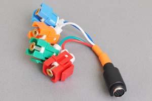 スナップイン中継ケーブル、RCAメス赤青緑オレンジ(コンポーネント映像+音声用)-ミニDIN8+1pinメス 【在庫限り販売中止】