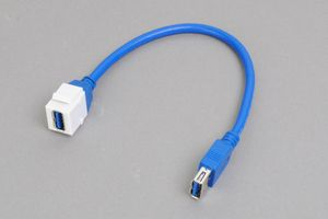 スナップイン中継ケーブル、USB3.0(Aコネクタ)メス-USB3.0(Aコネクタ)メス :ストレート方向ケーブル引き出しタイプ 【USB3.0対応、ストレート結線】