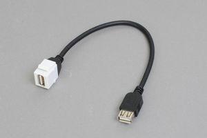 スナップイン中継ケーブル、USB2.0(Aコネクタ)メス-USB2.0(Aコネクタ)メス :ストレート方向ケーブル引き出しタイプ