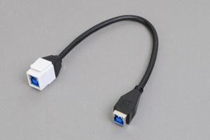 スナップイン中継ケーブル、USB3.0(Bコネクタ)メス-USB3.0(Bコネクタ)メス :ストレート方向ケーブル引き出しタイプ 【USB3.0対応、ストレート結線】