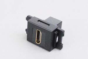 コンセントチップ(スナップインセット品) コンセント側:HDMIメス/壁内側:HDMIメス 縦型 黒