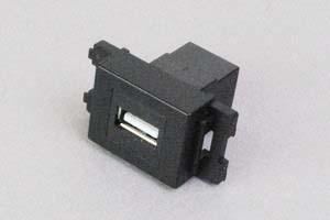 コンセントチップ(スナップインセット品) コンセント側:USB(Aコネクタ メス)/壁内側:USB(Aコネクタ メス) 横型 黒