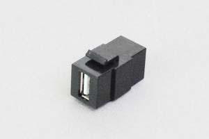 スナップイン中継コネクタ USBコネクタ(Aコネクタ メス クロ)モールドタイプ